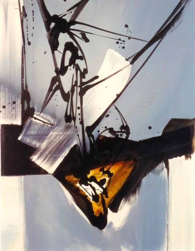 Le triangle doré, Acrylique sur toile  116 X 89 cm