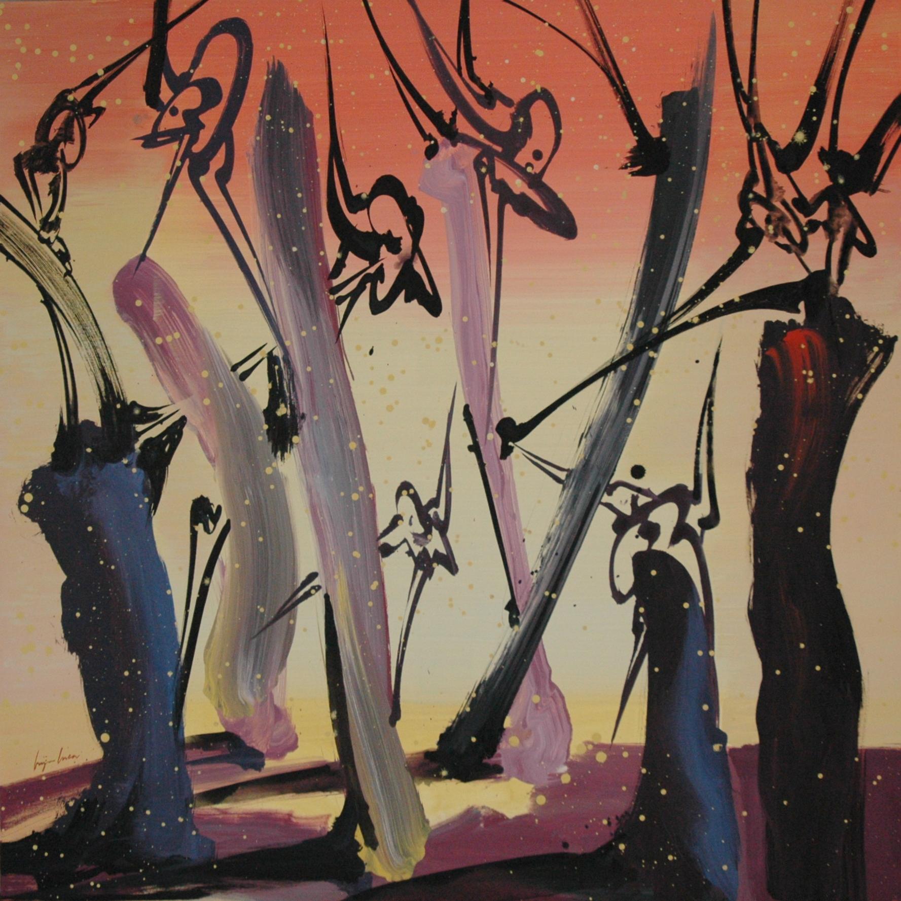 Arbres, Acrylique sur toile 114 x 114 cm