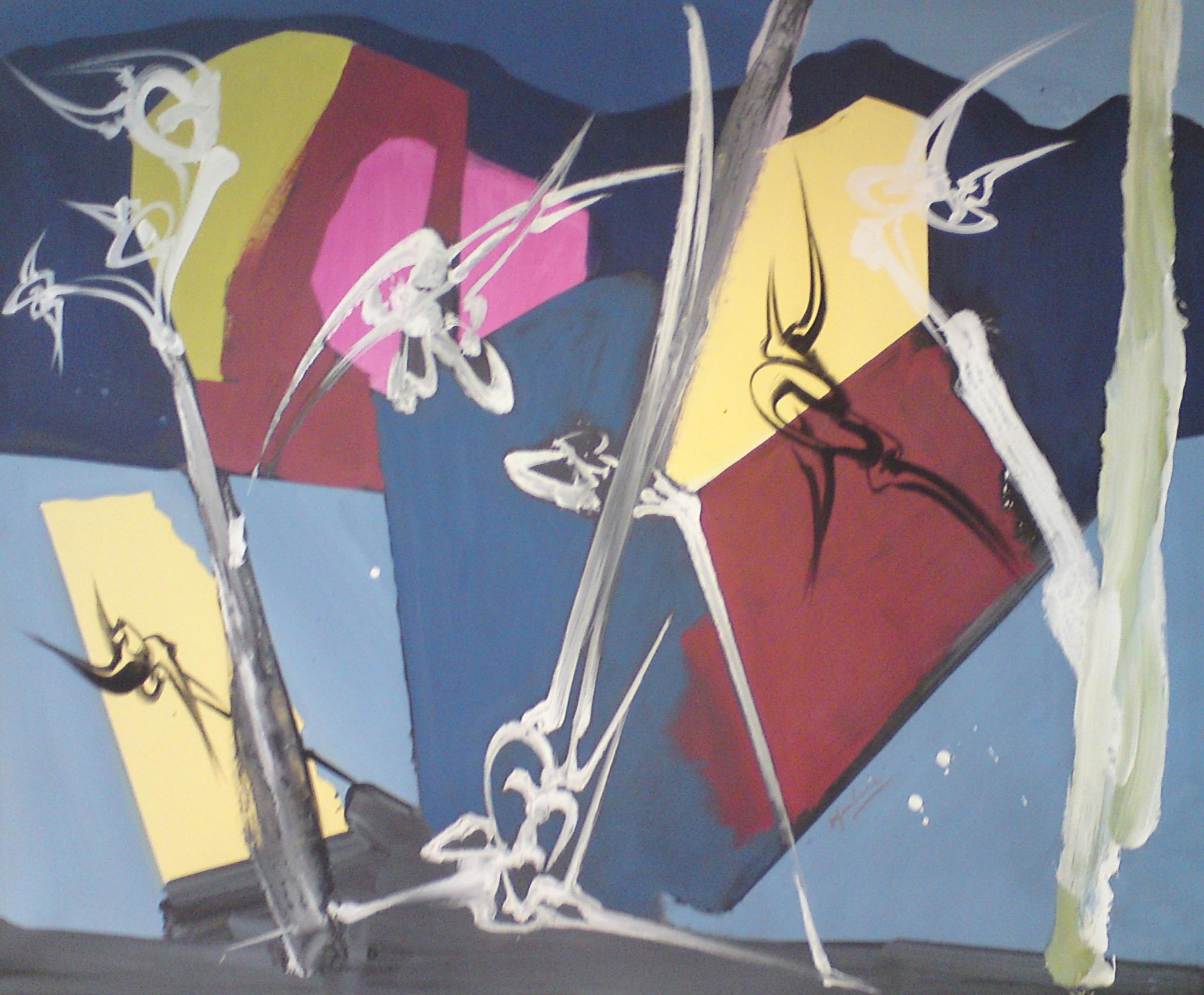 Collines, Acrylique sur toile  130 x 106 cm