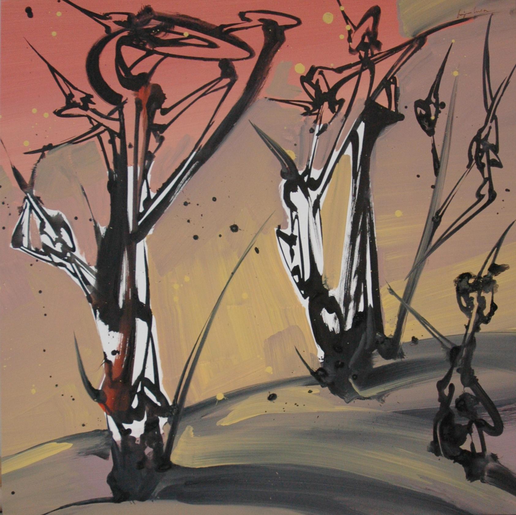 Arbres, Acrylique sur toiles 114 x 114 cm
