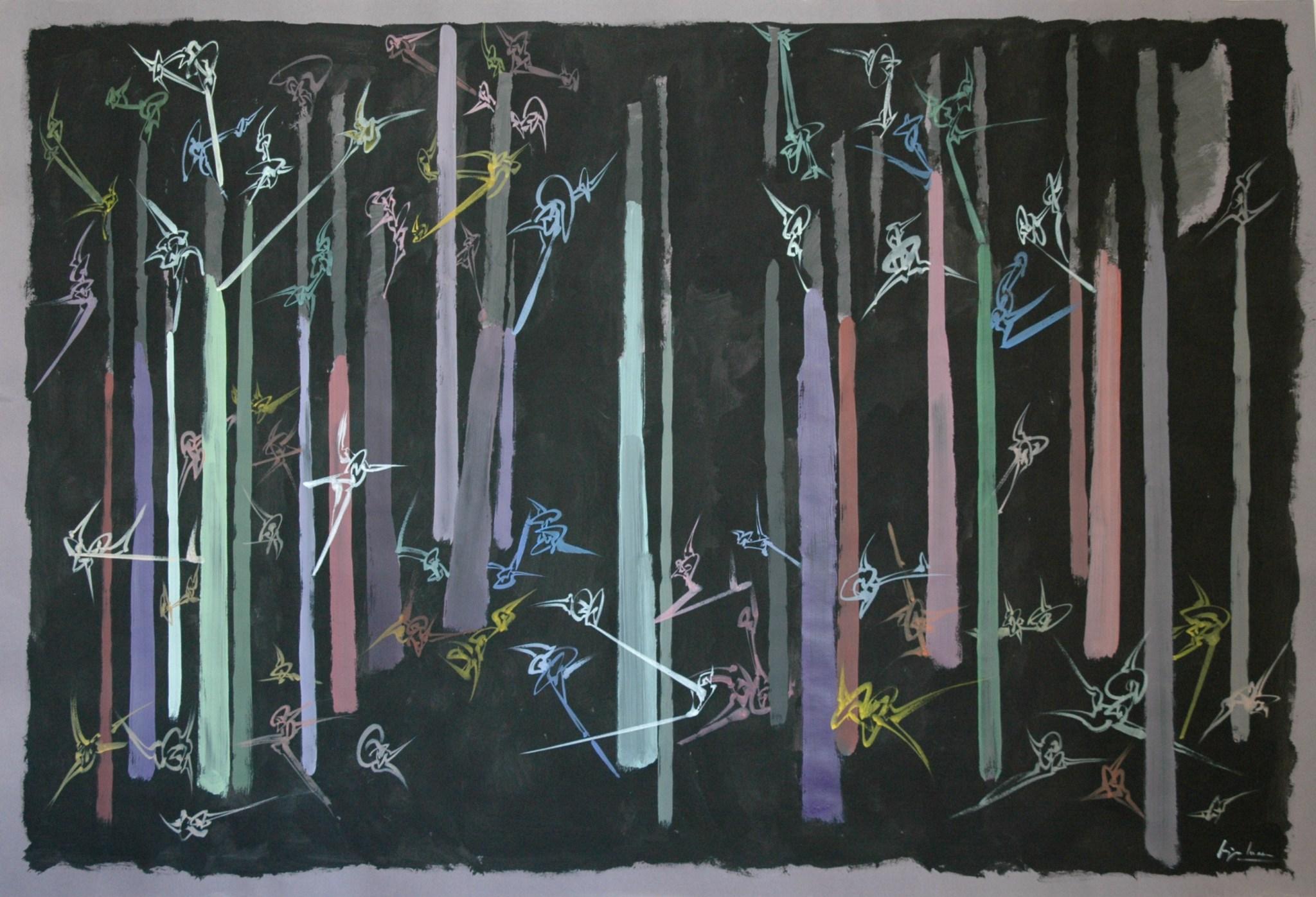 Chasse nocturne, Acrylique sur toile, 360 X 250 cm