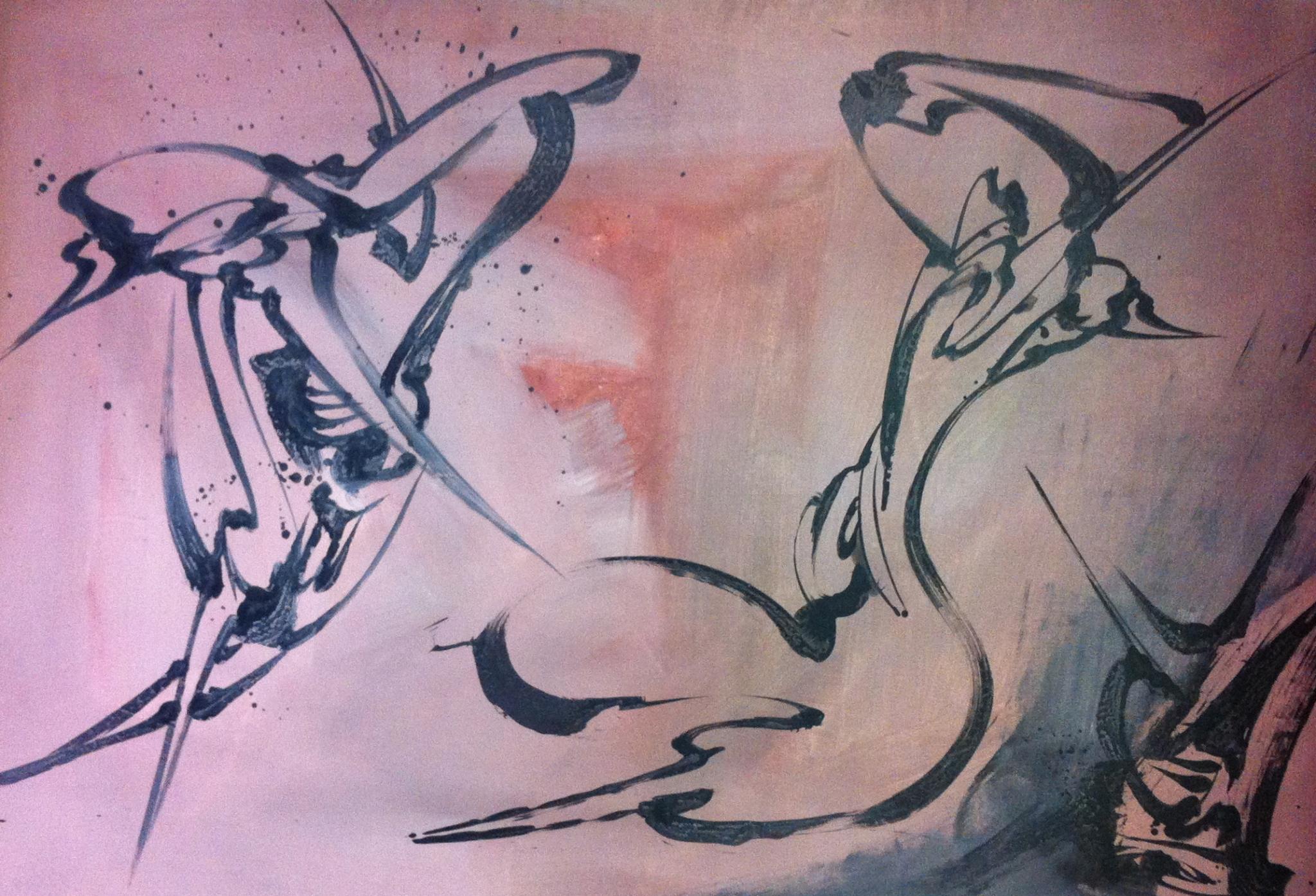 Couple rose, Acrylique sur toile 187 X 131cm