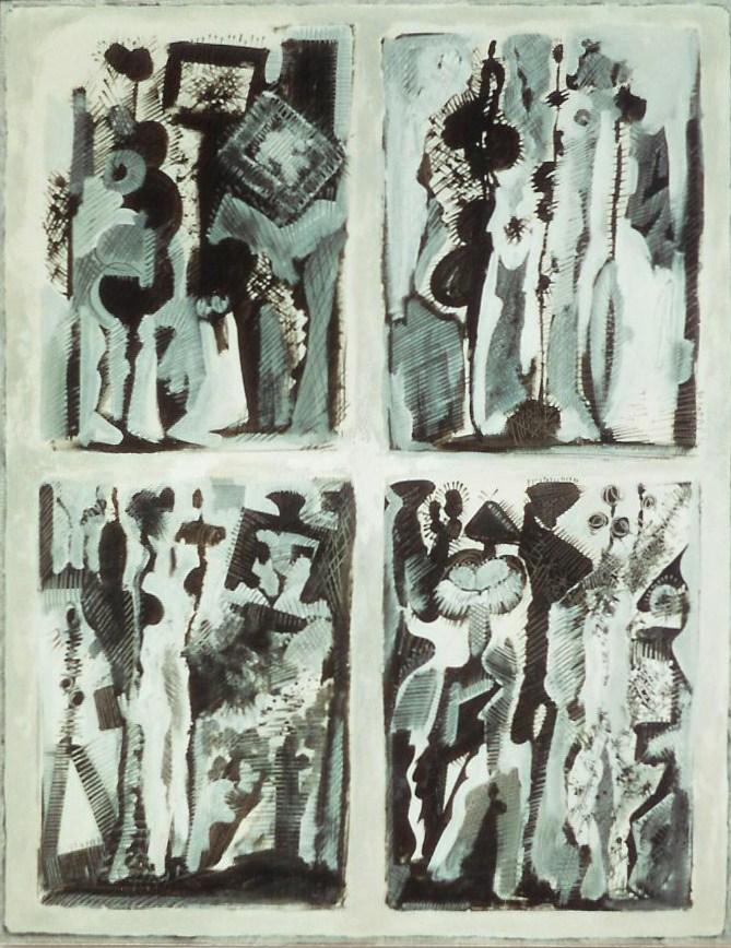 Le peintre et son modèle, Papier marouflé sur toile 116 x 89 cm