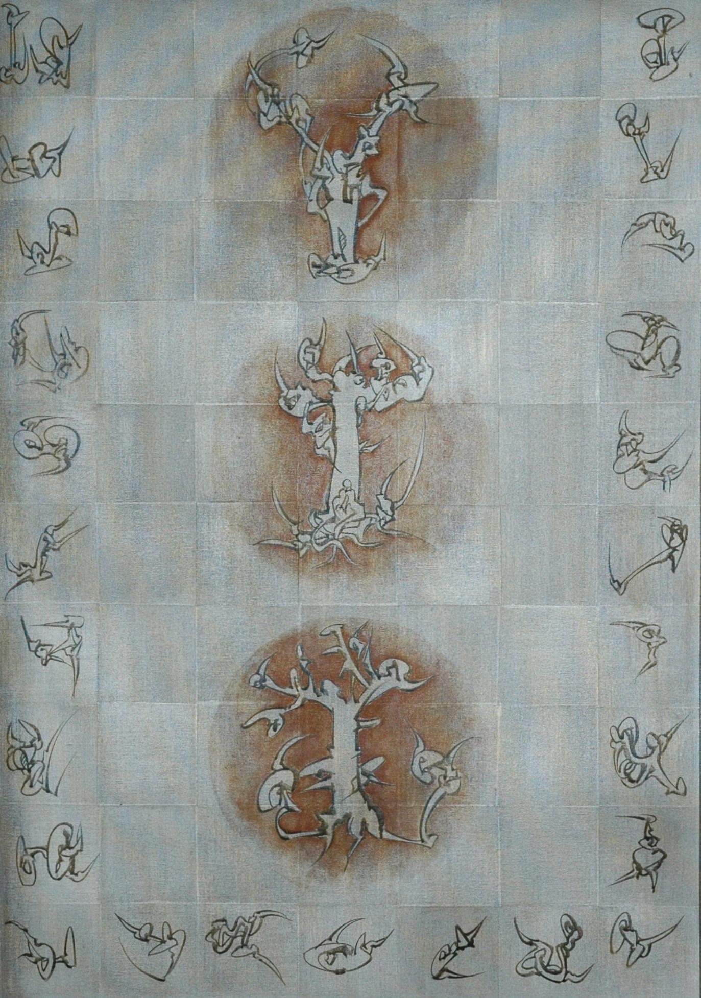 Trois arbres, Acrylique sur toile 80 X 56 cm