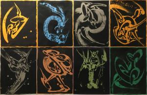 8 Dessins, chaque dessin 65 X 50 cm