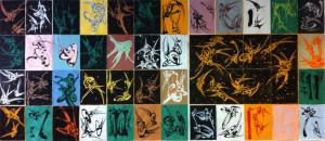 48 Dessins. Chaque dessin 65 X 50 cm. Encre de chine, acrylique et gomme arabique sur papier Canson.